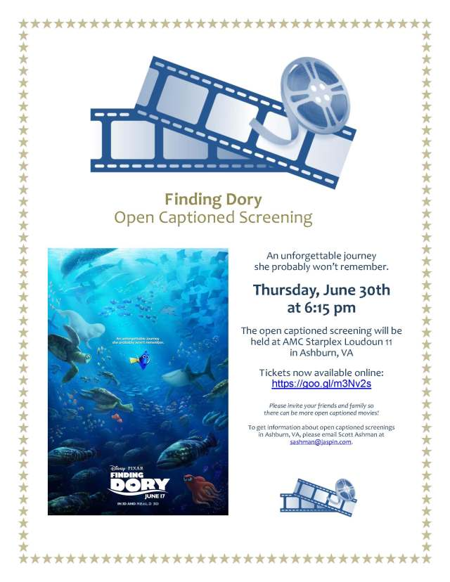 Finding Dory Open Captioned Screening Flyer (Ashburn)