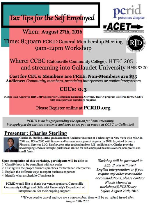 2016-08-27 PCRID Workshop - Tax Tips for the Self-Employed