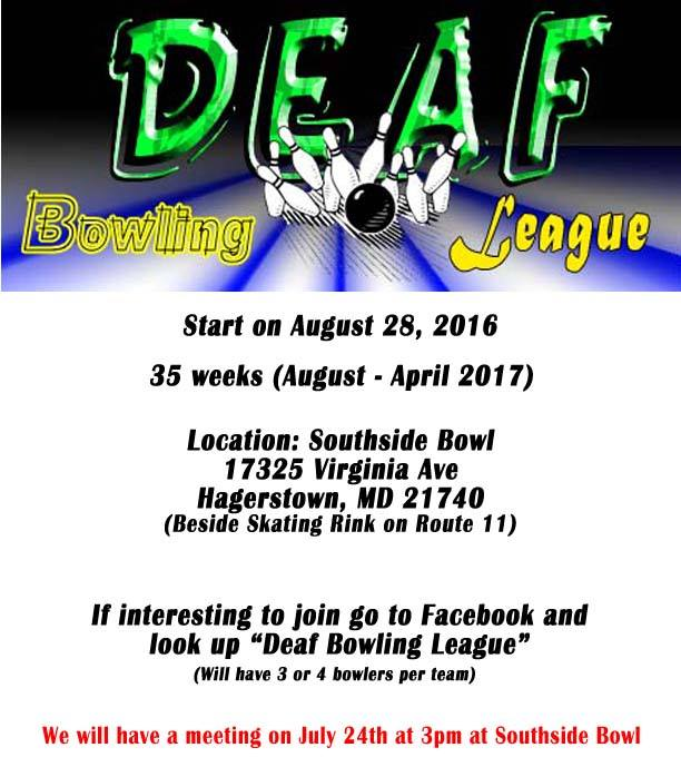 Deaf Bowling League Flier